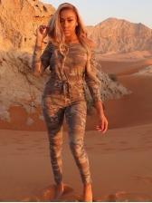 Camouflage Long Sleeve Off The Shoulder Jumpsuit