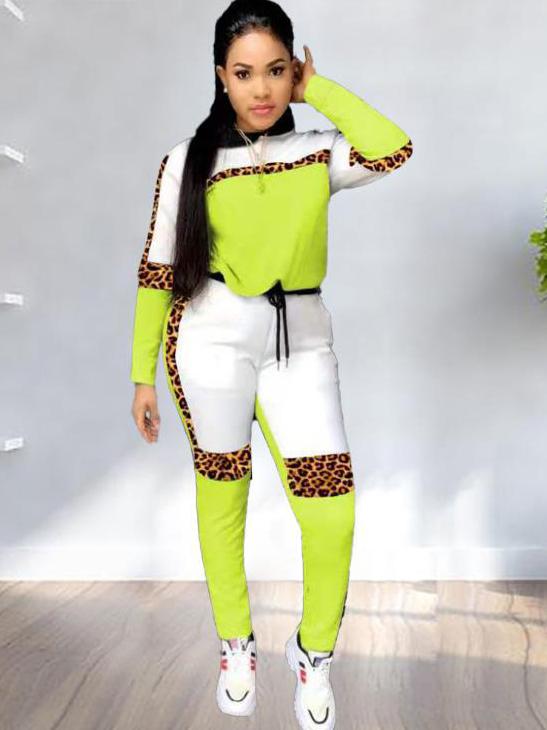 Contrast Color Leopard Print Hooded Ladies Gym Wear
