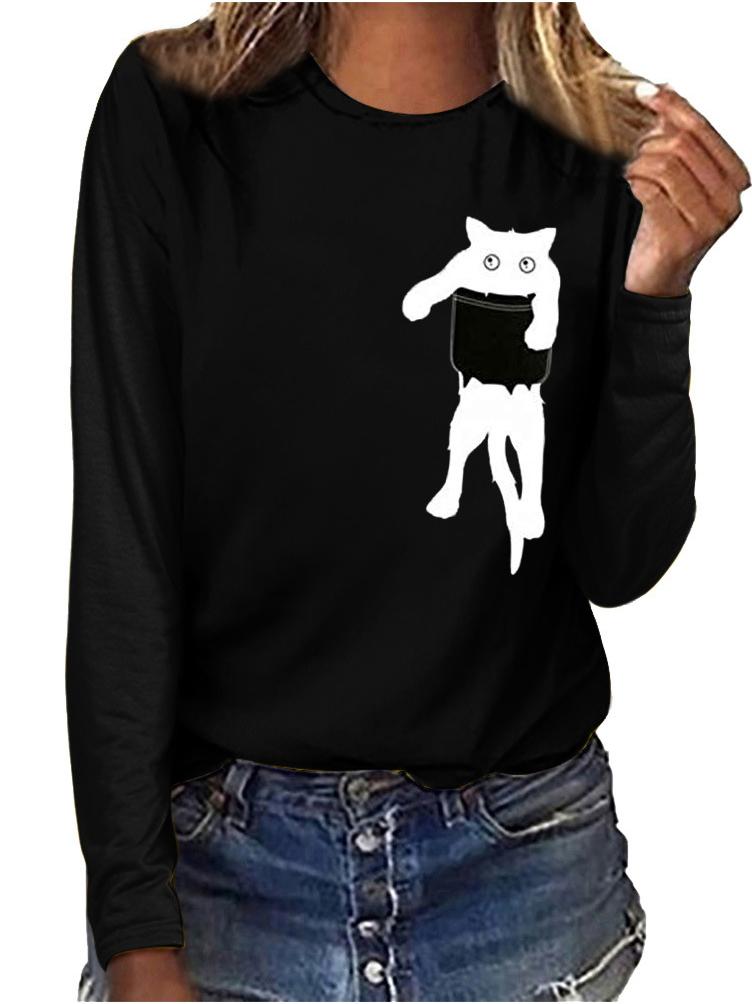 Cute Cat Printed Long Sleeve T Shirts Women