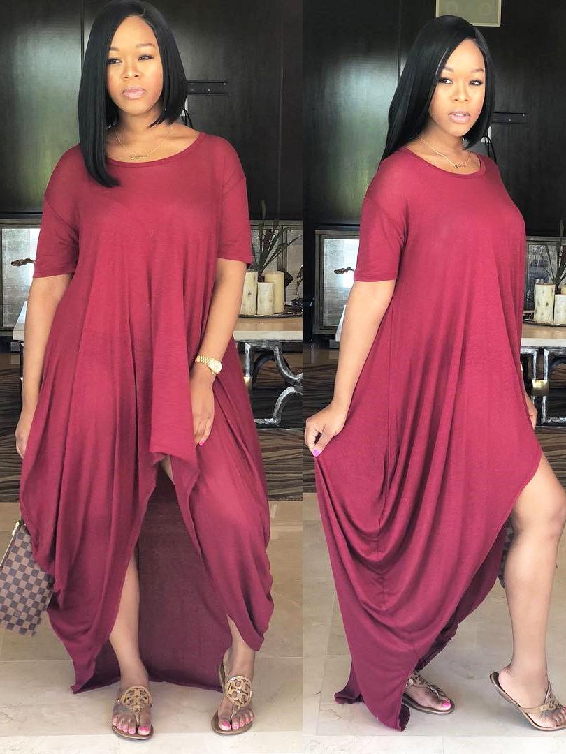 Solid Irregular Loose Short Sleeve Casual Dress