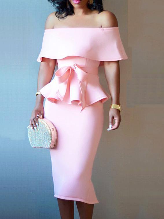 Off Shoulder Ruffled Bow 2 Piece Skirt Set