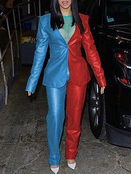 Two Tone Pu Blazer Women's Pant Suits