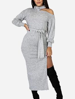 Cut Out Solid Split Midi Dress