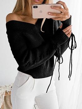 Loose Bandage Backless V Neck Sweater