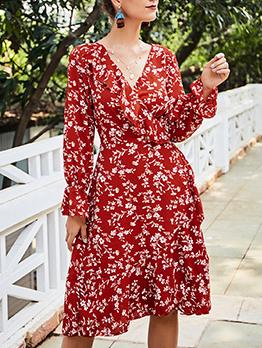 Fall v Neck Long Sleeve Floral Dress