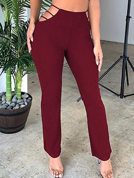 Solid Waist Cutout Long Pants