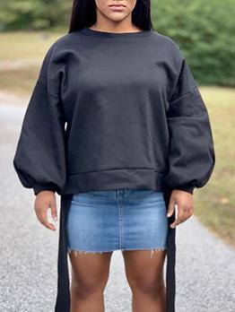 Autumn Tie-Wrap Lantern Sleeve All Black Sweatshirt