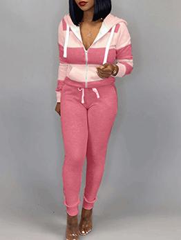 Stitching Color Wide Stripes 2 Piece Ladies Sportswear