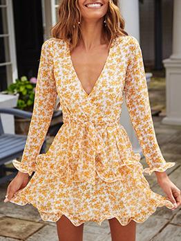 Deep V Neck Floral Yellow Long Sleeve Chiffon Dress