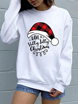 Christmas Hat Letter Printed Crewneck Sweatshirt