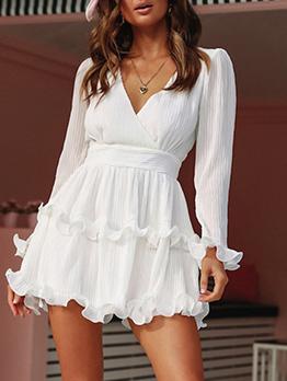 Stringy Selvedge Tie-Wrap White Long Sleeve Dress