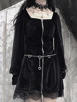 Retro Square Neck Zipper Up Black Dress