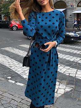 Autumn Tie-Wrap Blue Long Sleeve Polka Dot Dress