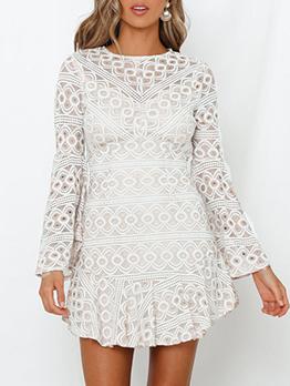 Bohemia Backless Flare Sleeve White Lace Dress