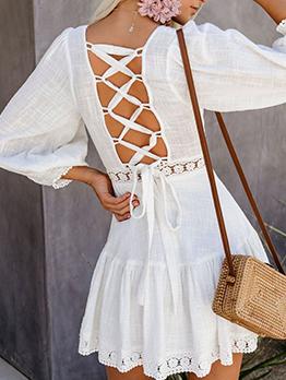 Square Neck Smart Waist White Pleated Dress