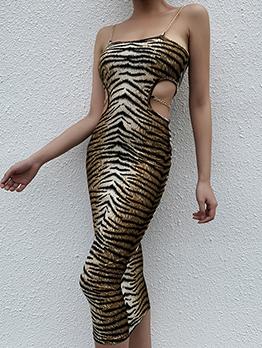 Chain Strap Cut-Out Animal Print Midi Dress