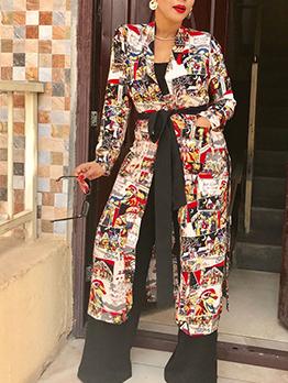 Trendy Printed Long Sleeve Long Coat