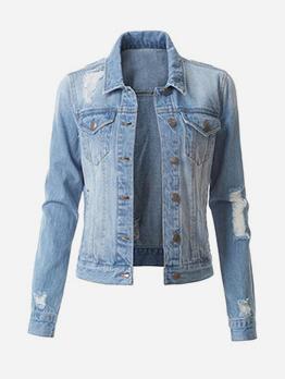 Fashion Ripped Short Denim Jacket