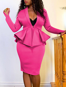 Solid Ruffled Long Sleeve Two Piece Skirt Set