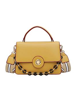 Square Design Wide Belt Chain Shoulder Bag With Handle
