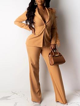 Tassel Decor Solid Long Sleeve Women Suit Set