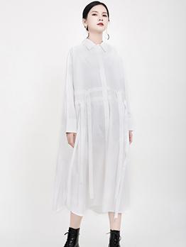 Vintage Solid Loose Midi Long Sleeve Shirt Dress