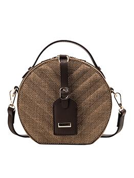 Trendy Double-Zippers Detachable Belt Round Shoulder Bag