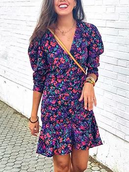 Autumn V Neck Long Sleeve Floral Dress