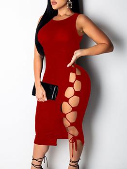 Bandage Hollow Out Sleeveless Midi Dress