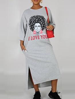 Pockets Print Long Sleeve T-Shirt Maxi Dress