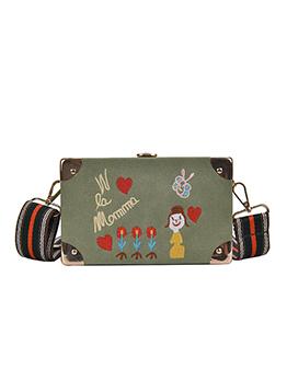 Cartoon Embroidered Rectangle Stripes Belt Shoulder Bag