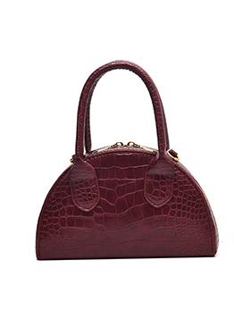 Semicircle Solid Color Crocodile Print Crossbody Handbags