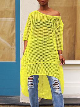 Hollow Incline Shoulder Irregular Hem Half Sleeve Dress