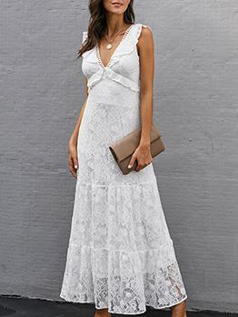 Deep V Neck Sleeveless Lace Maxi Dress