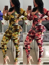 Camouflage Flower Printed Casual Jumpsuits
