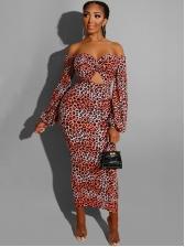 Off The Shoulder Leopard Printing Midi Dress