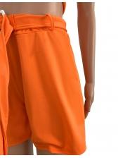Pure Color Bra Cropped Short Trouser Suit