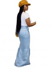 Smart Waist Ruffled Hem Long Denim Skirt