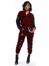 Sequined Patchwork 2 Piece Pants Set