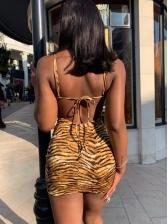 Seductive Back Tied Animal Printing Summer Dresses