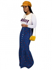 Heart Pattern Single Breasted Blue Fishtail Maxi Skirt