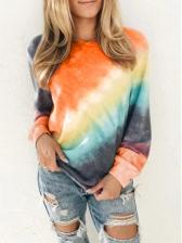 Stylish Gradient Iridescence Plus Size Pullover Sweatshirt