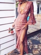 Flare Sleeve Split Hem Blush Evening Dress