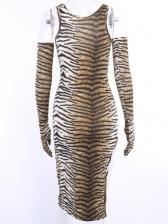 Tiger Skin Printing With Gloves Sleeveless Dress