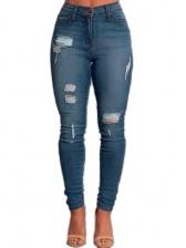 High Waist Zipper Bottom Ripped Jeans