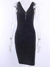 Glitter Front Zip Up Sleeveless Sheath Dress