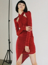 Cross Neck Solid Keyhole Sexy Dress