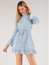 Ruffled Printed Lace Up Long Sleeve Mini Dress