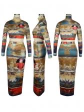 High Neck Printed Crop Top And High Waisted Skirt Set