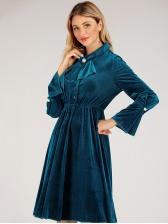 Retro Pleuche Solid Long Sleeve Dresses For Women